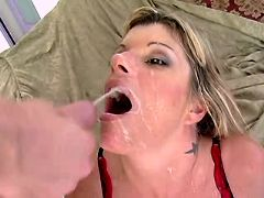 Milf fucks w guys and gets facials