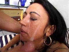 Milf gets facial after fuck in orgy
