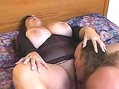 Busty grandma gets licked