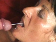Lustful busty granny eats fresh cum