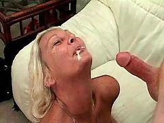 Blonde granny get facial