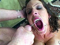 Dirty mom gets jizzed by two dicks