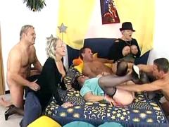 Grannies gangbang with young studs