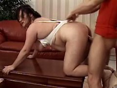 Horny mature fatty screwed on table