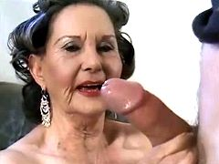 Funny granny licking ass and cock