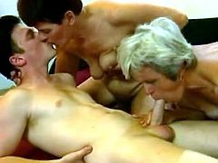Two horny old hags suck young dick