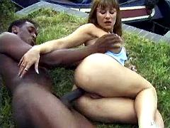 Dirty milf gets nailed outdoors