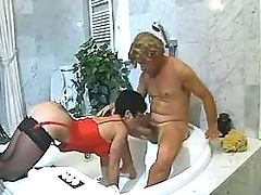 Milf does blowjob in bath