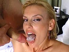 Pretty blond milf getting mouthful
