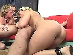 Milf sucks cock and  fucks on sofa