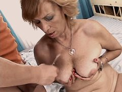 Aged mom fucks and gets cum on tits
