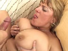 Plump mature gets cum on huge boobs
