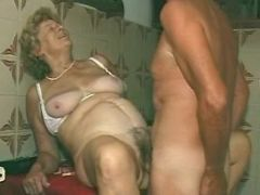 Pervert grandma hard fucked by man